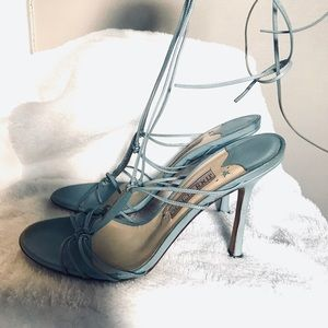 Jimmy Choo leather light blue tie up heels
